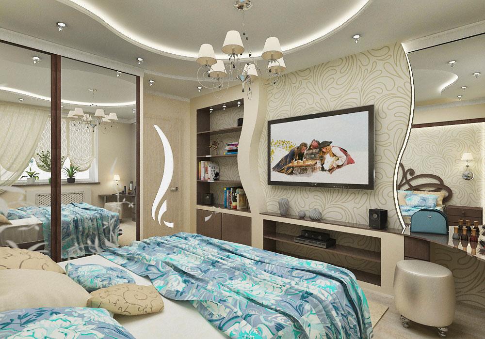Интерьер спальни фото из гипсокартона